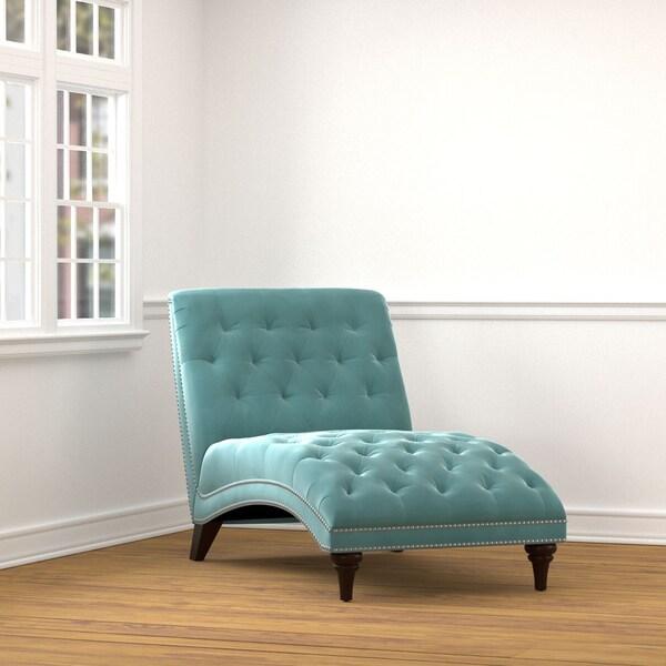 Handy living palermo turquoise blue velvet snuggler chaise for Blue velvet chaise lounge