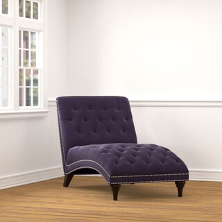 Handy Living Palermo Purple Velvet Snuggler Chaise Lounge