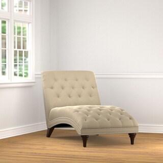 Handy Living Palermo Tan Oatmeal Velvet Snuggler Chaise Lounge