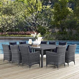 Grey Rattan Weave and Sunbrella Fabric 11-piece Patio Dining Set