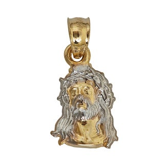 Decadence 14k Yellow and White Gold Religious Figure Bust Dangling Pendant