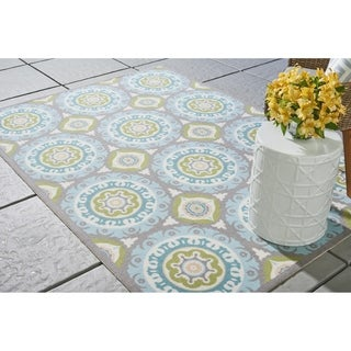 Waverly Sun N' Shade Solar Flair Jade Indoor/ Outdoor Rug by Nourison (4'3 x 6'3)