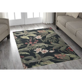 Waverly Sun N' Shade Wilea Coast Black Indoor/ Outdoor Rug by Nourison (4'4 x 6'11)