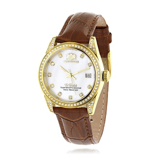 Luxurman Tribeca Women's 18k Yellow Gold-plated 1.5ct Diamond Leather Band Watch