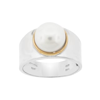 Meredith Leigh SS/14KY Two-tone Gold/Sterling Silver White Pearl Bold Band Ring