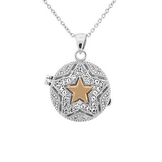 Meredith Leigh Sterling Silver 14k Yellow Gold Star-accented Gemstone Locket Pendant