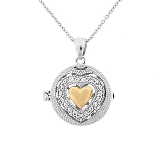 Meredith Leigh SS/14KY Two-tone Gold/Sterling Silver Heart and Gemstone Locket