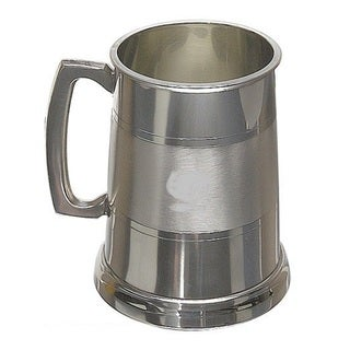 Elegance Pewter 19-ounce Tankard with Satin Band with Glass Bottom