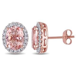 Miadora 10k Rose Gold Morganite and 2/5ct TDW Diamond Halo Stud Earrings (G-H, I1-I2)