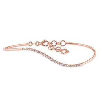 Miadora 14k Rose Gold 1/6ct TDW Diamond Bangle Bracelet (G-H, I1-I2)