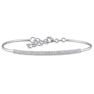 Miadora 14k White Gold 2/5ct TDW Diamond Bangle Bracelet