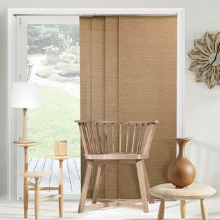 """Chicology Adjustable Sliding Panel, Frontier - Natural Woven, Privacy, 80""""W X 96""""H - Birch Truffle