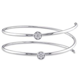 Miadora Sterling Silver Cubic Zirconia Flexible Bangle Bracelet