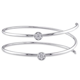 Miadora Sterling Silver Cubic Zirconia Flexible Bangle Bracelet