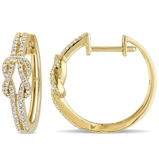 Miadora 14k Yellow Gold 3/8ct TDW Diamond Infinity Hoop Earrings