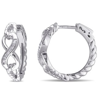 Miadora Sterling Silver Diamond Accent Infinity Hoop Earrings