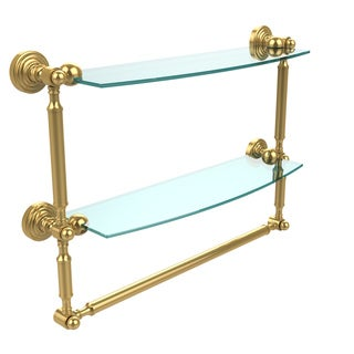 Allied Brass Waverly Place Collection Glass 18-inch Two-tiered Shelf with Towel Bar