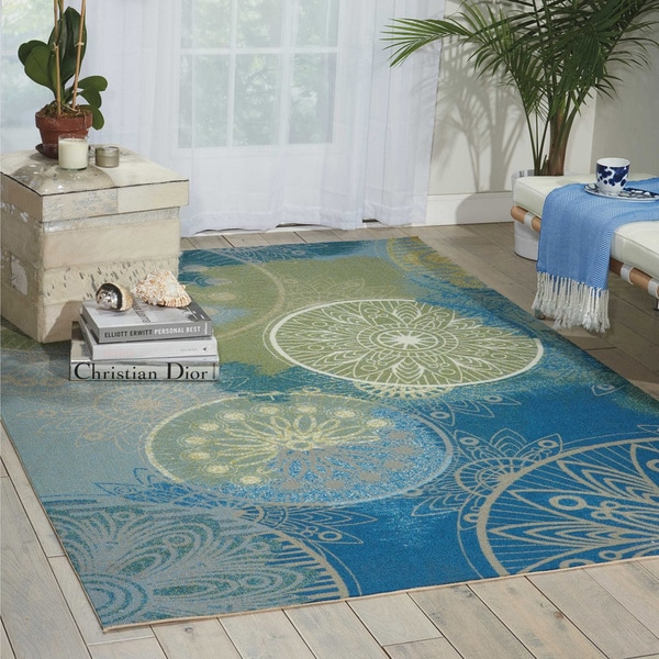 Home And Garden Rugs: Shop Nourison Home And Garden Medallion Blue Indoor
