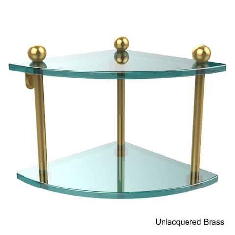 "Allied Brass Glass Two-tier Corner Shelf - 8"" x 8"" x 8"""