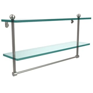 Link to Allied Brass Glass 22-inch Two-tiered Shelf With Integrated Towel Bar Similar Items in Bath