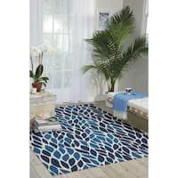 Nourison Home and Garden Blue Indoor/ Outdoor Area Rug (5'3 x 7'5) - 5'3 x 7'5