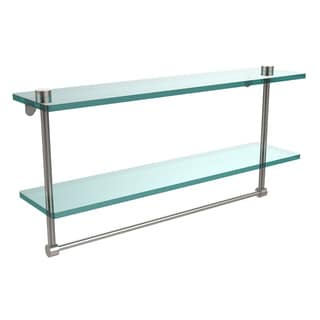 Allied Brass Clear Glass Two-tiered Glass Shelf with Integrated Towel Bar