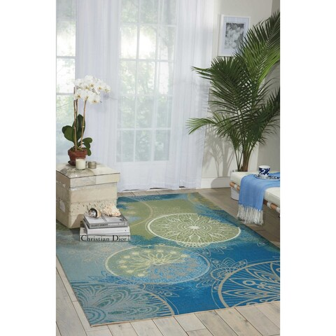 Nourison Home and Garden Medallion Blue Indoor/Outdoor Rug - 5'3 x 7'5