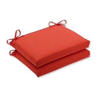 Pillow Perfect Outdoor / Indoor Splash Mango Squared Corners Seat Cushion (Set of 2)