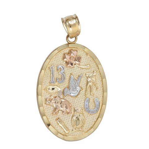14k Tri-color Gold Nine Lucky Charms Dangling Pendant