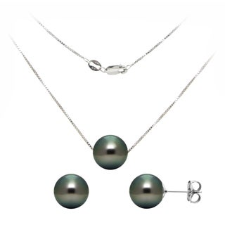 DaVonna 14k White Gold 8-9mm Black Tahitian Cultured Pearls Necklace and Earrings Set