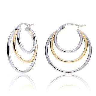 Mondevio Silver Tri Round Hoop Earrings