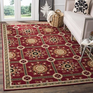 Safavieh Hand-hooked Easy to Care Red/ Natural Rug (3' x 5')
