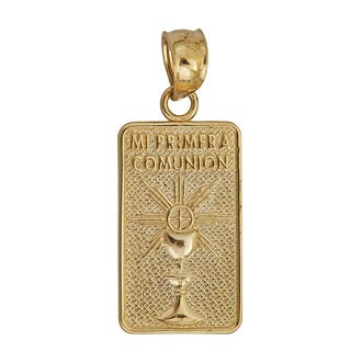 14k Yellow Gold Religious 'Mi Primera Comunion' Amulet Dangling Pendant