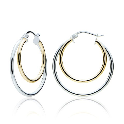 Mondevio Silver High Polished Double Hoop Earrings