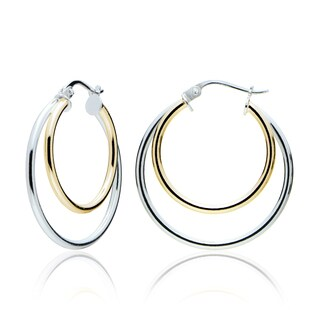 Mondevio Silver High Polished Double Hoop Earrings