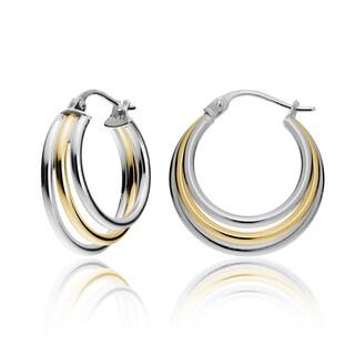 Mondevio Silver Tri Graduating Hoop Earrings