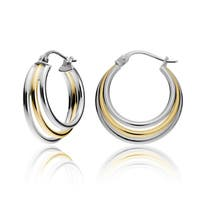 Mondevio Silver Tri Graduating Hoop Earrings