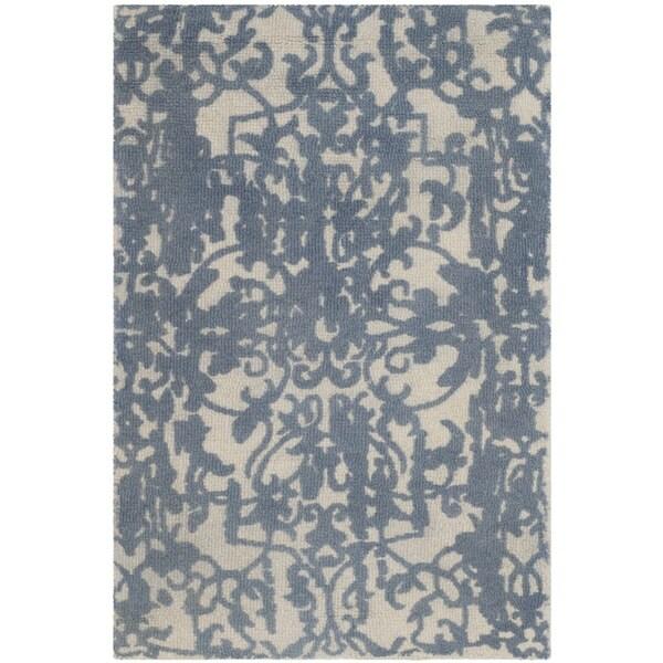 Safavieh Handmade Restoration Vintage Ivory / Blue Wool Distressed Area Rug (3' x 5')