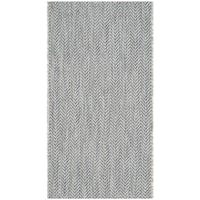 Safavieh Indoor/ Outdoor Courtyard Grey/ Navy Rug (2' x 3' 7)