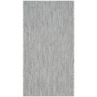 Safavieh Indoor/ Outdoor Courtyard Grey/ Navy Rug (2' x 3' 7)