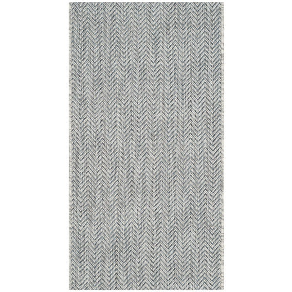 Safavieh Indoor/ Outdoor Courtyard Grey/ Navy Rug - 2' x 3'7