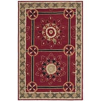 Safavieh Hand-hooked Easy to Care Red/ Natural Rug - 2' X 3'