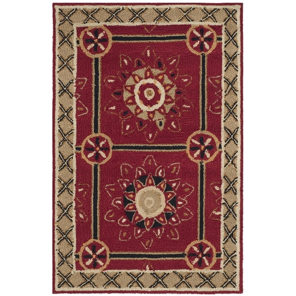 Safavieh Hand-hooked Easy to Care Red/ Natural Rug (2' x 3')