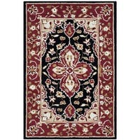 "Safavieh Hand-hooked Easy to Care Black/ Red Rug - 2'6"" x 4'"