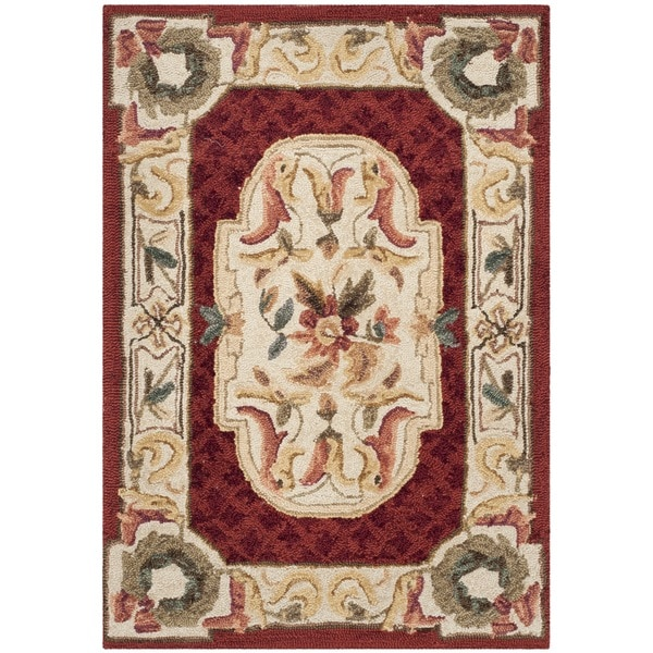Safavieh Hand-hooked Easy to Care Ivory/ Red Rug (2' x 3')