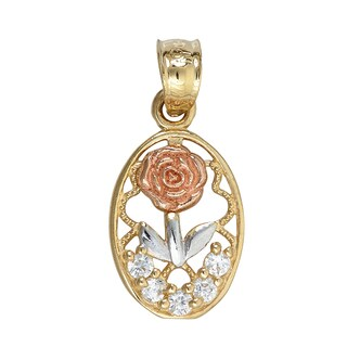 14k Tri-color Gold Cubic Zirconia Rose Dangling Pendant