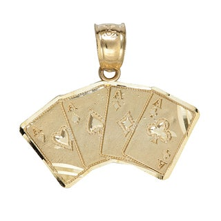 14k Yellow Gold 4 Aces Pendant