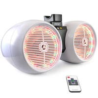 Pyle PLMRWB652LEW Dual Marine Wakeboard Water-resistant Multicolored LED Lights 6.5-inch 400-watt White Tower Speakers