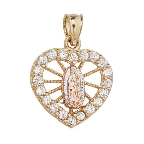 14-karat Gold Diamond Virgin Mary Heart Tag Charm Pendant