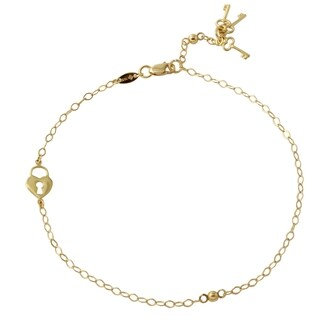 14k Yellow Gold 9-inch to 10-inch Open Rolo Heart and Key Adjustable Anklet